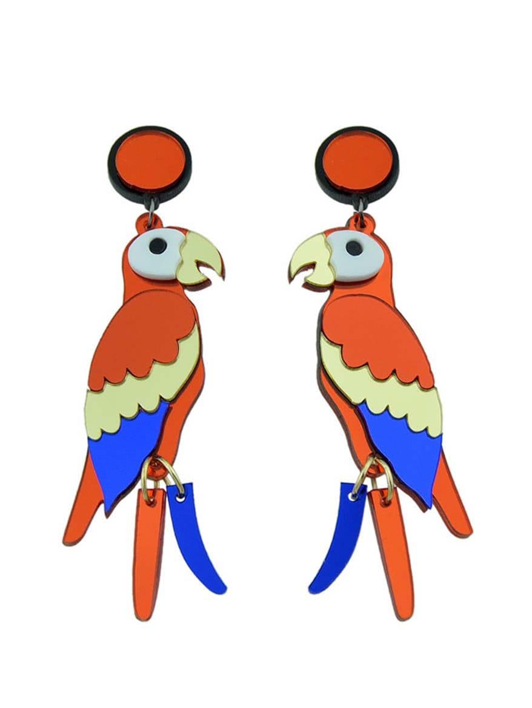 (Random Color) Colorful Acrylic Parrot Shape Big Dangle Earrings