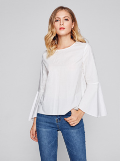 V Cut Back Trumpet Sleeve Blouse