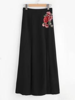 Embroidered Flower Applique M-Slit Skirt