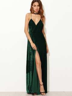 Strappy Backless Wrap Velvet Dress