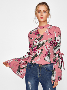 Bow Tie Exaggerated Trumpet Sleeve Choker Neck Top