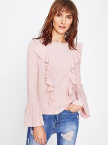 Flounce Front Trumpet Sleeve Ribbed Knit Top