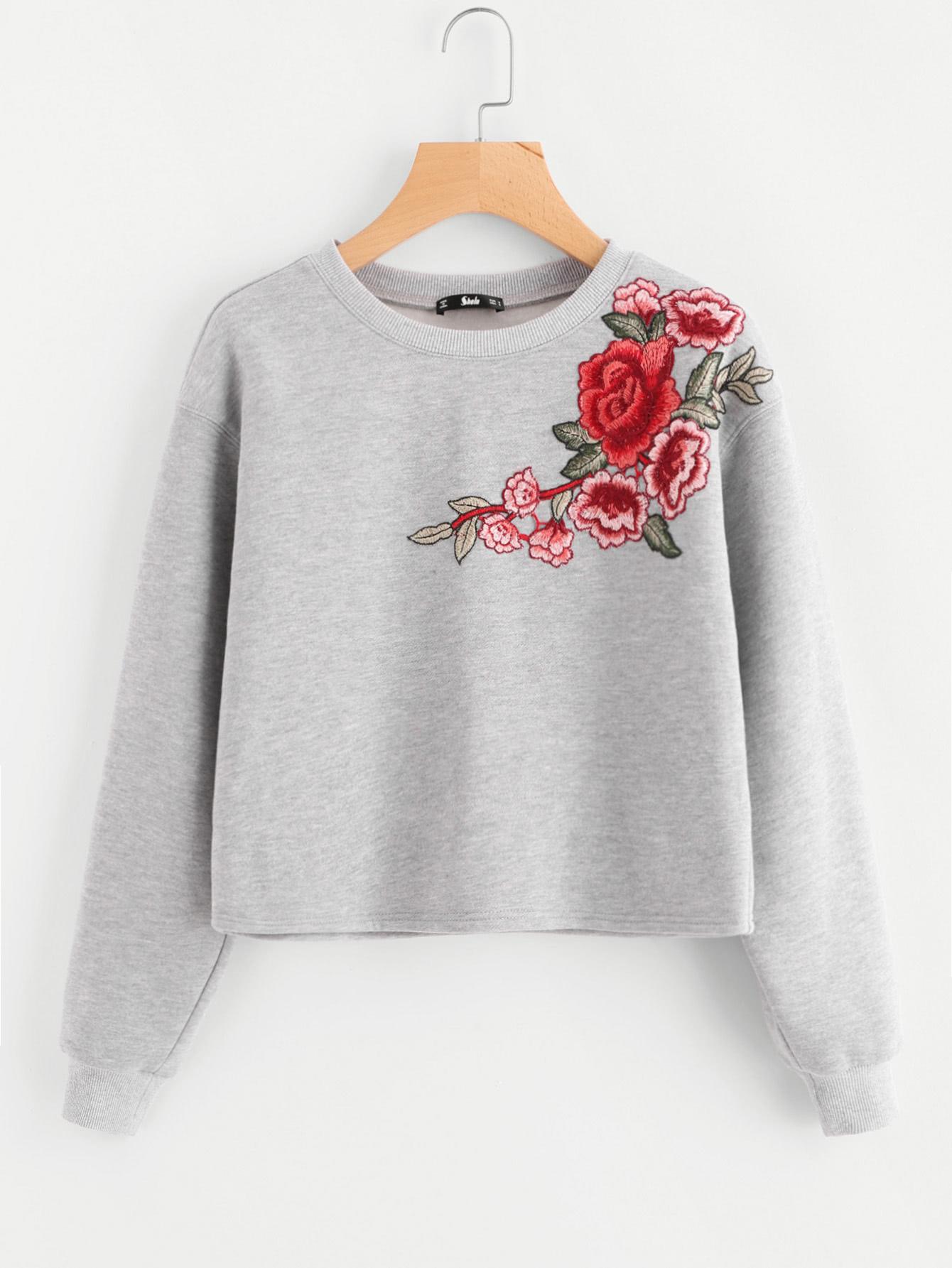 Drop Shoulder Embroidered Patch Crop Sweatshirt