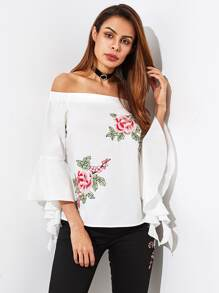 Fluted Sleeve Embroidery Applique Bardot Blouse
