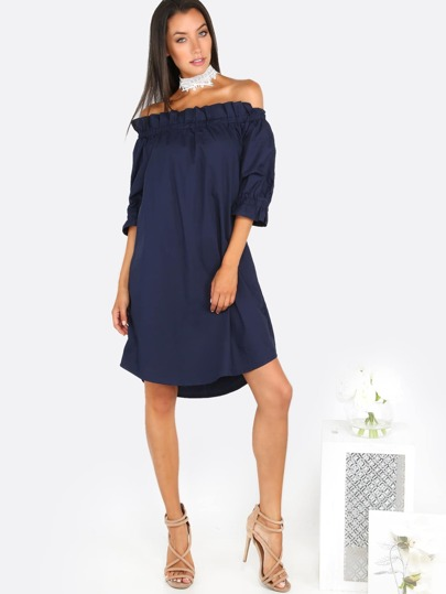 Off Shoulder Frill Trim Dress