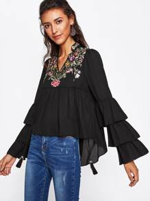 Embroidery Tiered Flute Sleeve Smock Blouse
