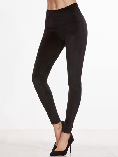 Black Velvet Skinny Leggings