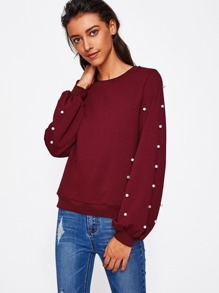 Pearl Beading Lantern Sleeve Sweatshirt