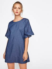 Drop Shoulder Petal Sleeve Frill Trim Dress
