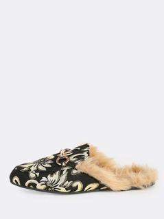 Floral Print Fur Lined Loafers BLACK GOLD