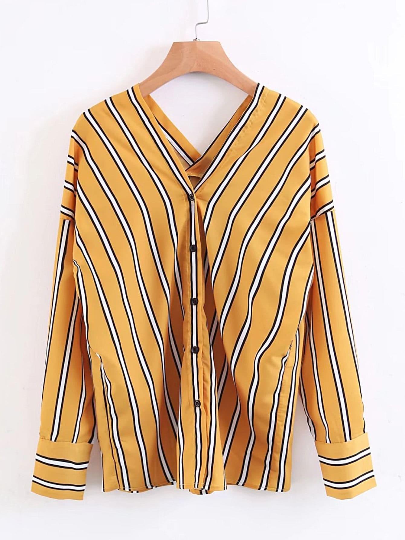 Double V Neck Vertical Striped Blouse blouse170811203