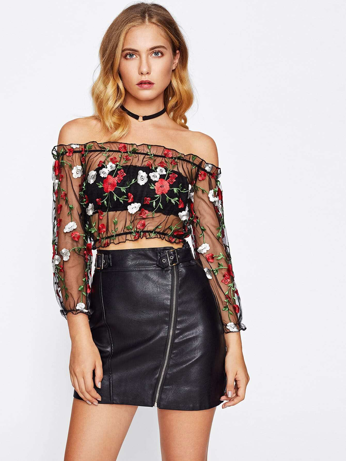 Frill Trim Bardot Embroidery Mesh Top