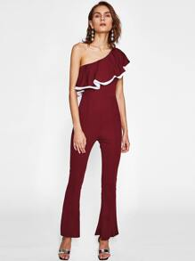 Contrast Trim Flounce Layered Oblique Shoulder Flare Catsuit