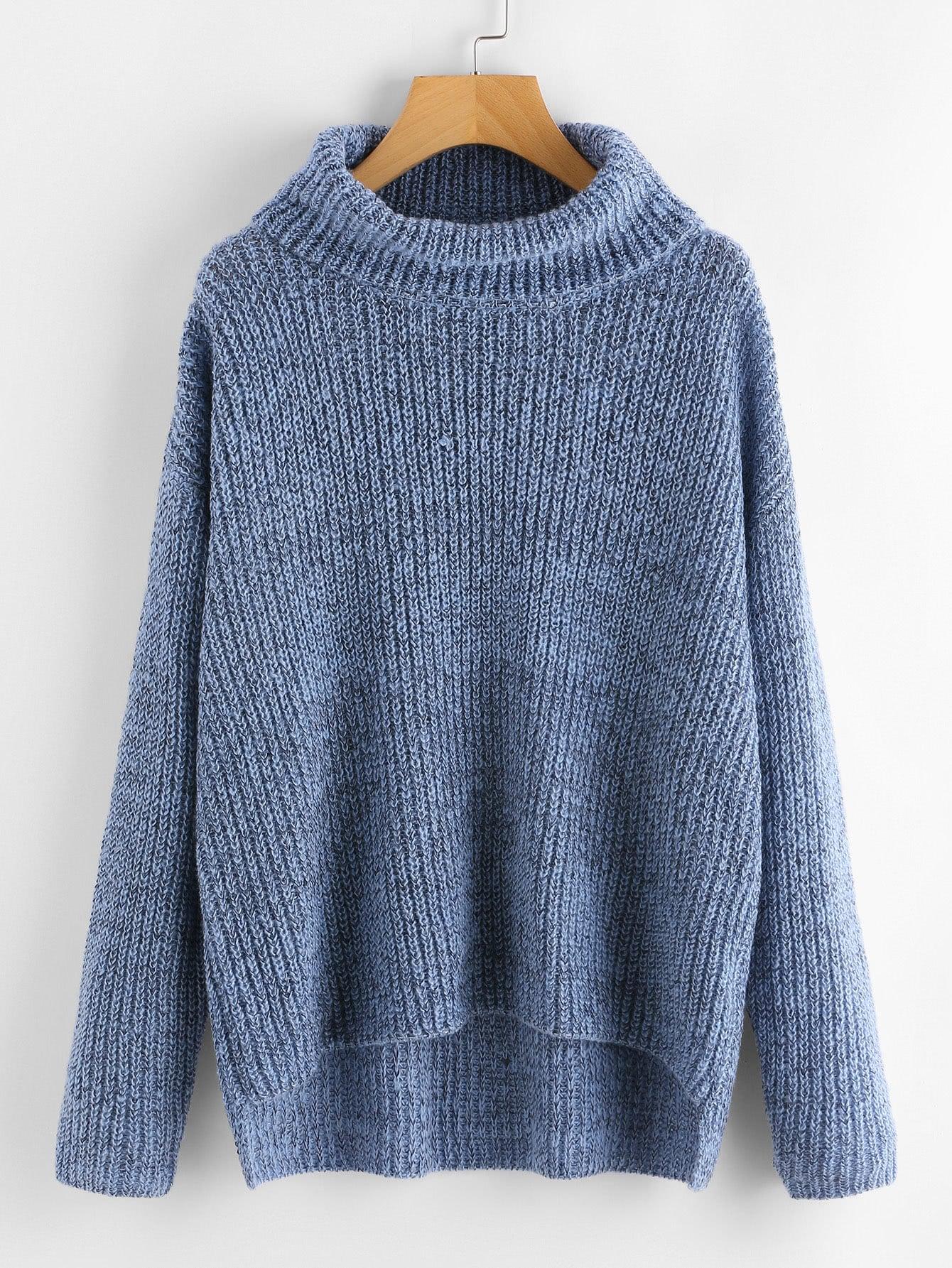 Dip Hem Turtle Neck Sweater