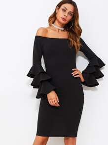 Tiered Trumpet Sleeve Slit Back Bardot Dress