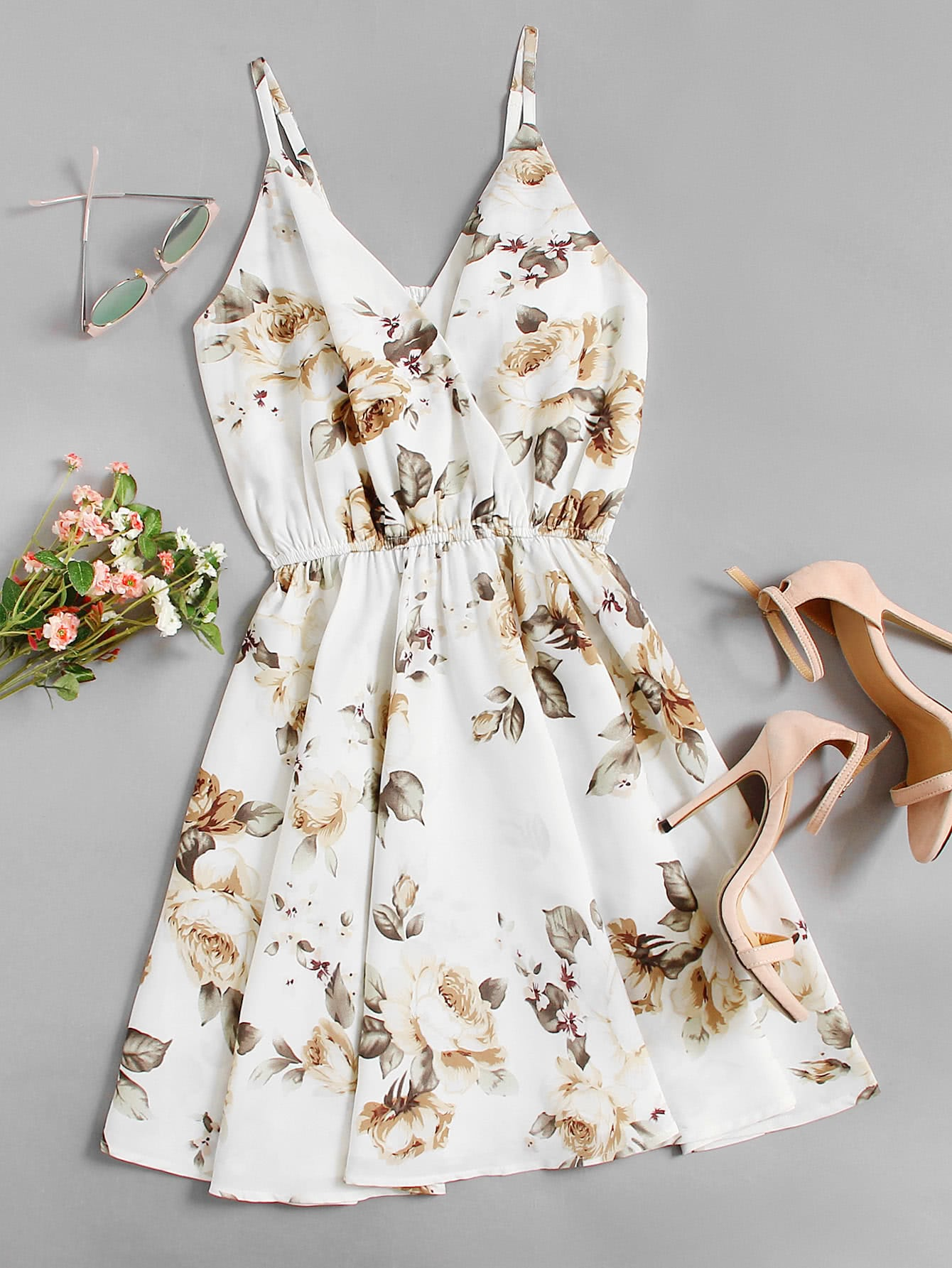 Floral Print Random Surplice Cami Dress
