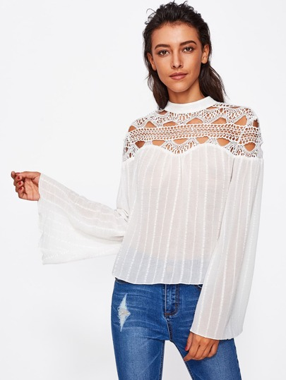 Hollow Out Lace Yoke Fluted Sleeve Textured Top