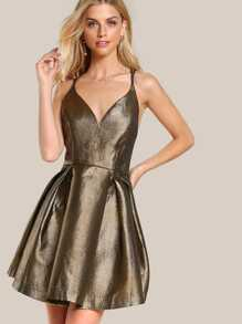 Metallic Spaghetti Strap Dress BRONZE