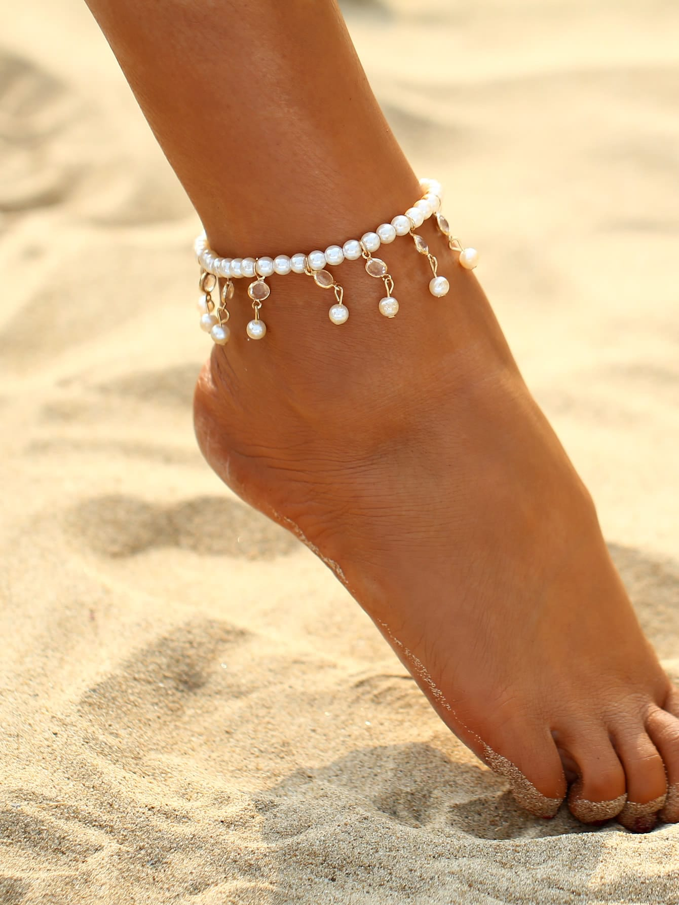 Faux Pearl & Crystal Decorated Beaded Anklet characteristic faux crystal beads decorated faux pearl embellished barefoot sandal for women (one piece
