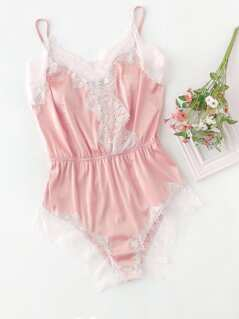 Lace Trim Surplice Front Sleep Bodysuit