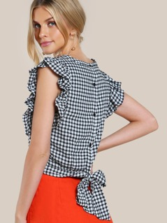 Gingham Print Ruffle Trim Top BLACK WHITE