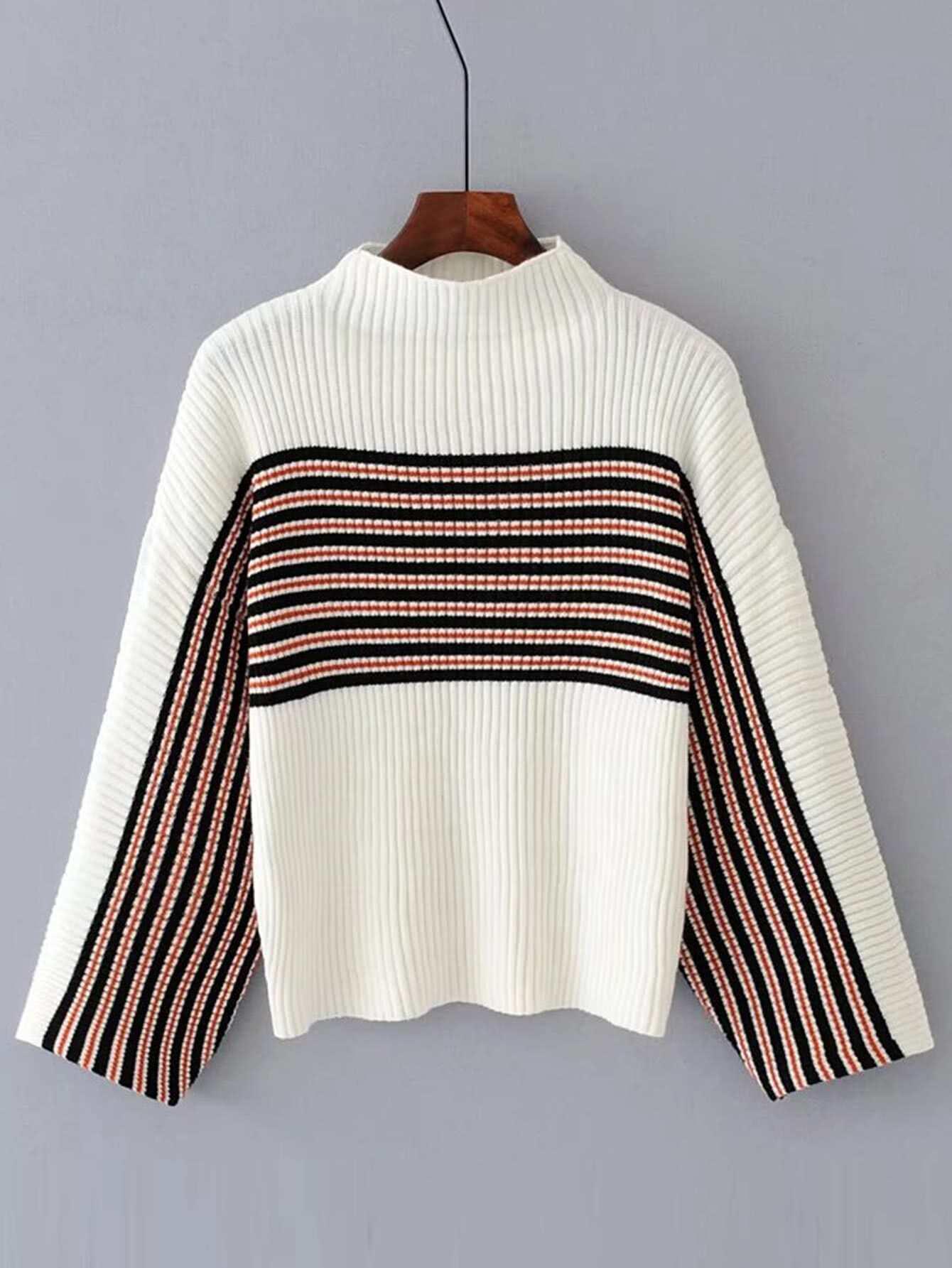 Striped Detail Ribbed Knit Sweater RKNI170823207