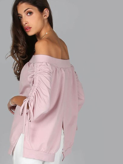 Ruched Sleeve Bardot Split Back Top DUSTY PINK
