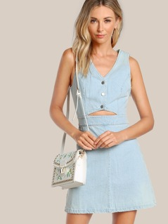 Front Cutout Button Up Denim Dress BLUE