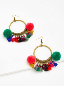 Tassel & Pom Pom Decorated Hoop Earrings