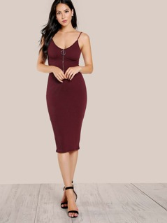 Ribbed O Ring Dress BURGUNDY