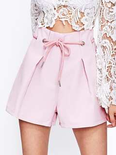Eyelet Lace Up Waist Shorts
