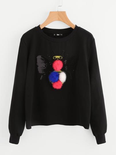 Pom Pom Detail Sequin Bee Sweatshirt