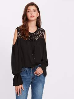 See Through Lace Neck Bell Cuff Blouse