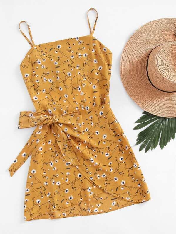 Open Back Wrap Daisy Print Cami Dress, null
