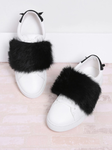 Faux Fur Decorated PU Sneakers With Cute Ears
