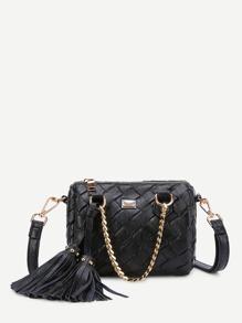 Tassel Embellished Woven PU Shoulder Bag