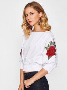 3D Rose Applique Shirred Cuff And Hem Top