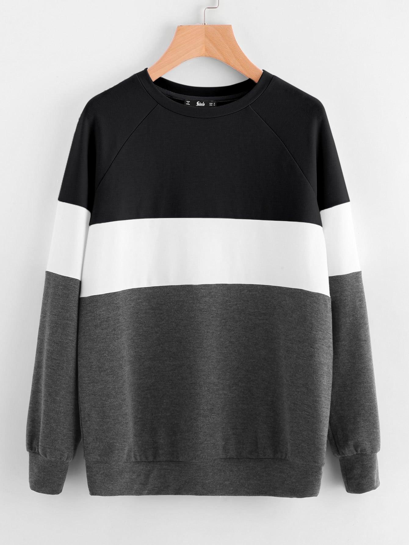 Cut And Sew Raglan Sleeve Sweatshirt two tone raglan sleeve sweatshirt