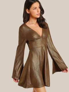 Trumpet Sleeve Open Back Dress GOLD