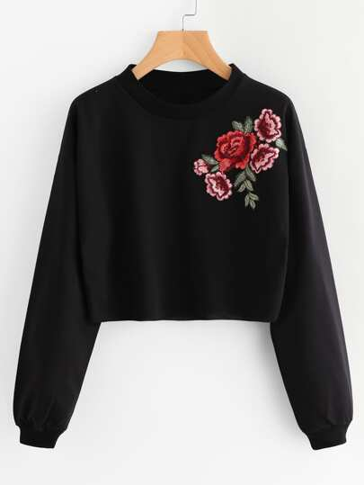Sweat-shirt avec applique de rose brodé