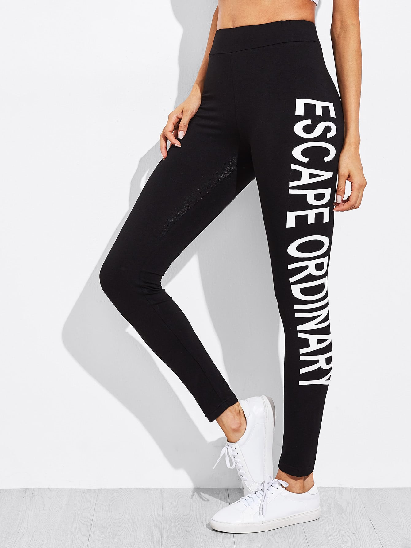Letter Print One Side Legging