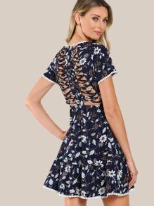 Dot Crochet Trim Crisscross Open Back Dress