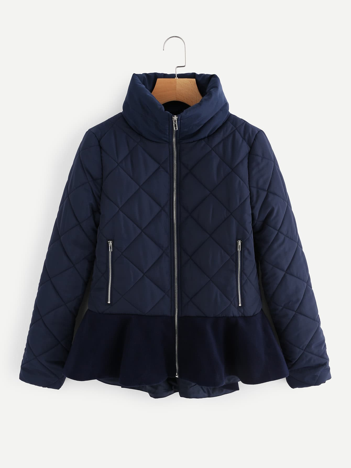Stand Collar Ruffle Hem Quilted Coat stand collar ruffle hem quilted coat