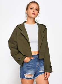 Drop Shoulder Crop Hoodie Jacket