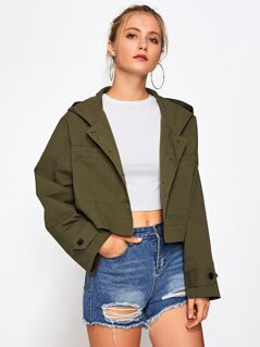Drop Shoulder Crop Hoodie Jacket