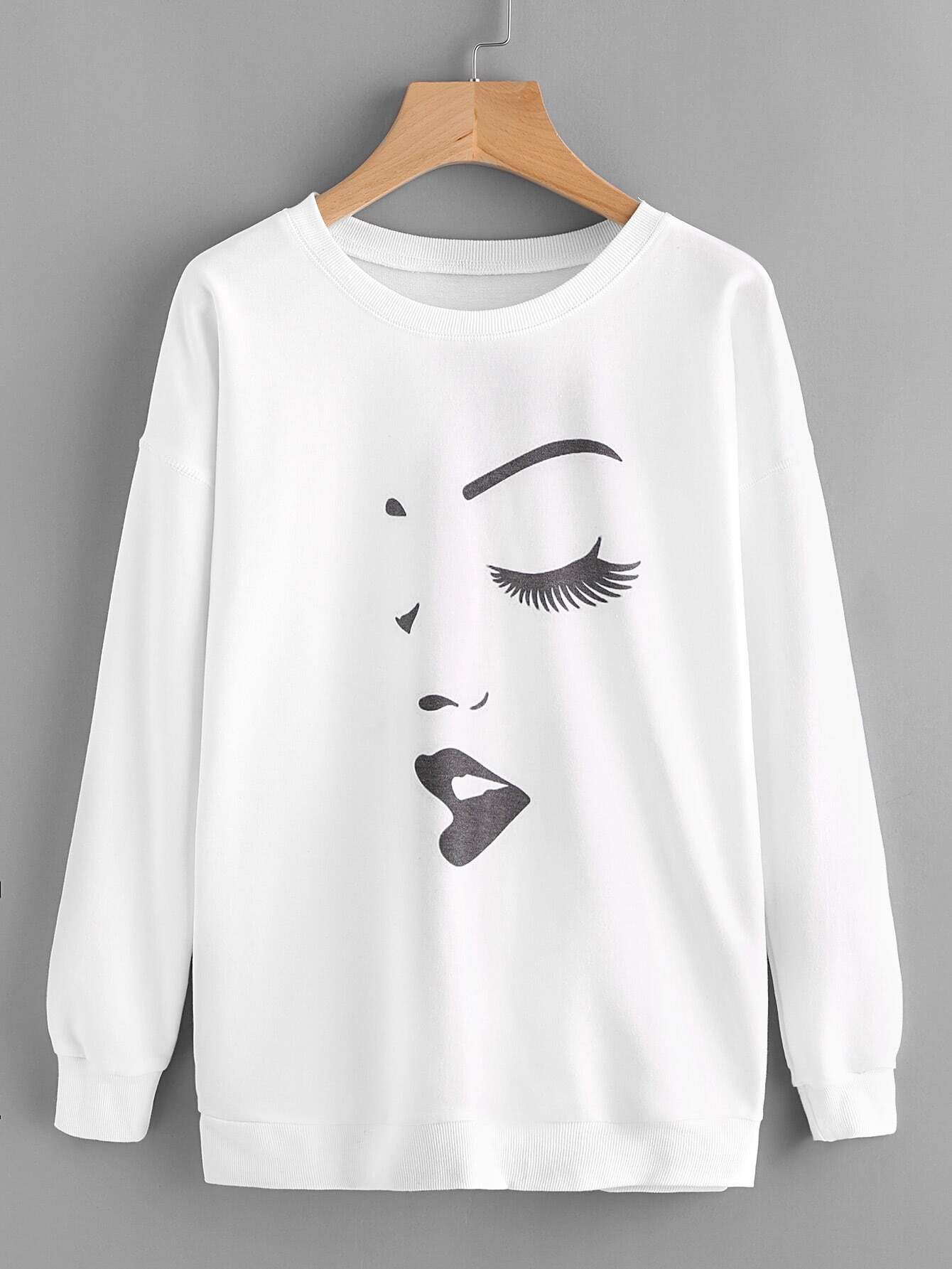 Graffiti Print Drop Shoulder Sweatshirt