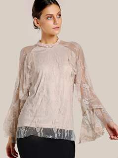 Layered Mesh Sleeve Top NUDE