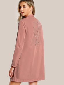 Hidden Pocket Side Embroidered Duster Coat