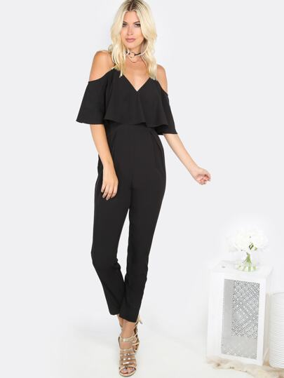 Cold Shoulder Flare Jumpsuit BLACK