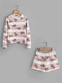 Letter Print Sweatshirt And Pocket Back Shorts Set